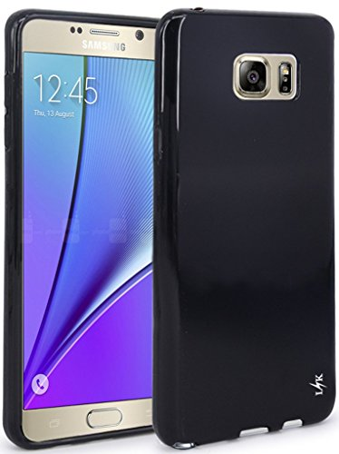 Rubber Gel Silicone Skin - Note 5 Case, LK Ultra [Slim Thin] Scratch Resistant TPU Gel Rubber Soft Skin Silicone Protective Case Cover for Samsung Galaxy Note 5 (Black)