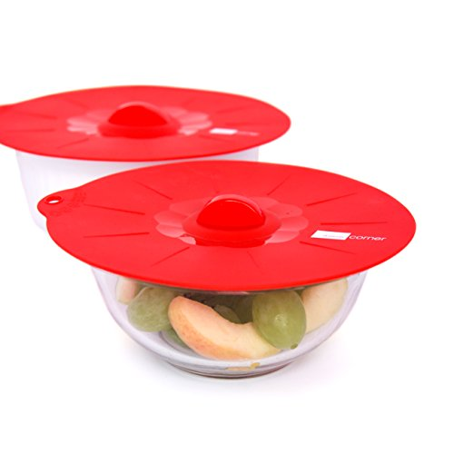 Domestic Corner Silicone Lid Set - For Cooking and Food Storage - Set of 4 - Red