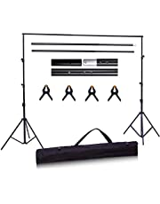 Backdrop Support Stands, Ohuhu Adjustable Muslin Photography Background System Stand, Photography Studio Photo Video Background Support System (No Backdrop Included) Ideal Gift for Photography Beginner Birthday Present, 1.9m(H)x 2.5m (W) /6 ft (H)x 8 ft (W)