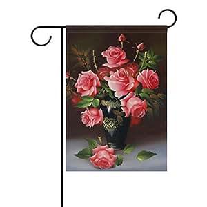 Bandera de Jardín Rosa rosa para celebrar festivales, doble cara bandera de Jardín 12x 18cm jardín decoración para hogar jardín al aire libre
