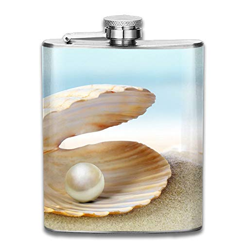 Laki-co Pearl Shell Hip Flask for Liquor Stainless Steel Bottle Alcohol 7oz -