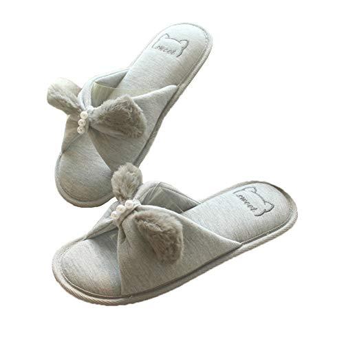 Femme Dessinée Eu 36 D'intérieur Bande Hiver Peluche 37 Jungen Chaussons Douce Chaussures 1 Pantoufle Coton Antidérapant De gris Chaud Perle Papillon Orné Noeud UTUYSqw