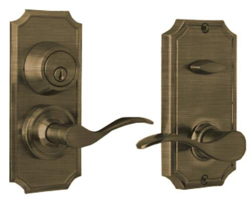 "Weslock R1501UAUASL2D Unigard UL Rated Right Hand Bordeau on Premiere Interconnected Lock with 2-3/8"" Backset and Round Corner Strikes Antique Brass Finish"