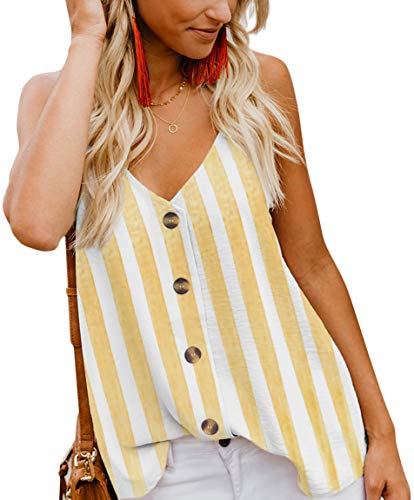 (Women's Summer Camisole Tank Tops Button Down V Neck Strappy Loose Cute Sleeveless Shirts Blouses Striped Yellow L)