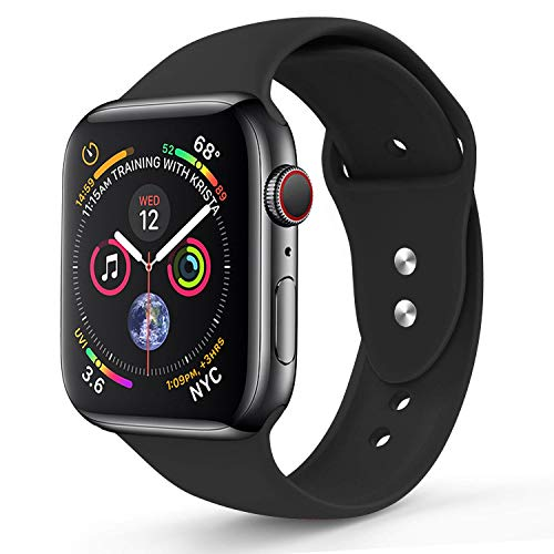 RUOQINI Compatible with Apple Watch Band 44mm,Sport Silicone Soft Replacement Band Compatible for Apple Watch Series 4, M/L Black