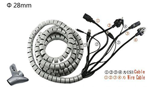 cable management generic safety 25mm gray cable organizer coiled tube sleeve cable  1 5m cable