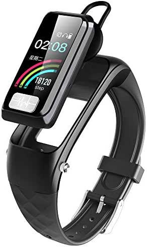 H&T Activity Fitness Tracker, Smart Wristband Bluetooth Earphone 2-in-1 Built in ECG PPG Heart Rate Monitors Blood Pressure Monitoring -for Android iOS