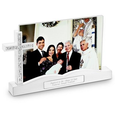 Things Remembered Personalized Cross Float Frame, Religious Cross Picture Frame with Engraving Included ()