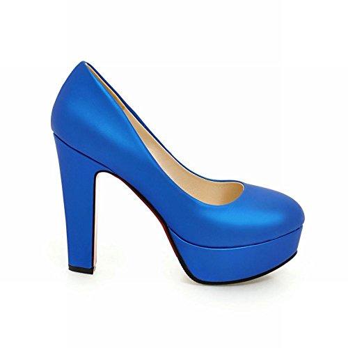 Carolbar Women's Elegant Fashion Platform High Heel Loafer Court Shoes Blue WNSNaq