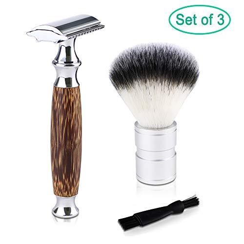 Double Edge Safety Razor + Shaving Brush Kits, ROCEN Set of 3 Reuseable Long Natural Bamboo Handle Razors & Badger Hair Shaving Brush & Mini Cleaning Brush for Men Women Christmas Birthday Gifts