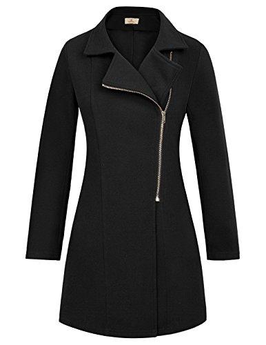 Grace Karin Casual Long Sleeve Zipper Closure Jacket Coat Size L Black
