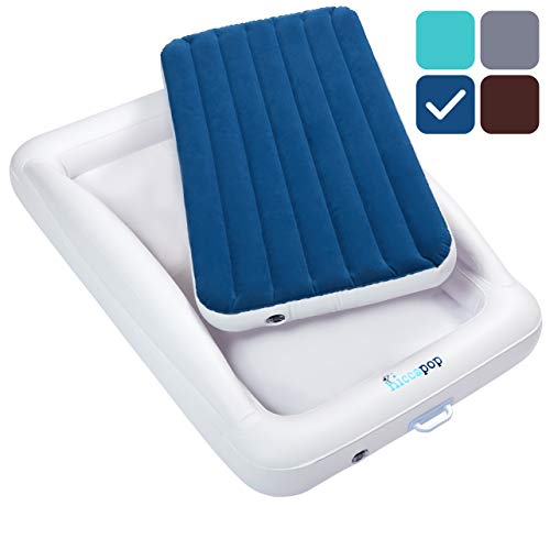 - hiccapop Inflatable Toddler Travel Bed with Safety Bumpers | Portable Blow Up Mattress for Kids with Built in Bed Rail - Navy Blue