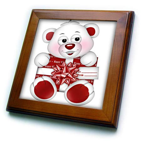 3dRose Anne Marie Baugh - Illustrations - Cute Red and White Happy Birthday Bear with Gift Illustration - 8x8 Framed Tile (ft_318019_1)