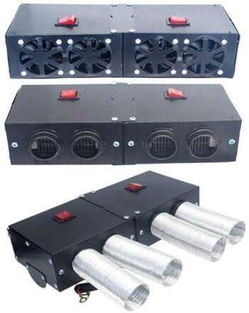 Adecuado para Tipos Generales de Coches Riloer Calentador Autom/ático de Coche Port/átil de 12V 500W Desempa/ñador Desempa/ñador Ventilador Caliente de 4 Puertos