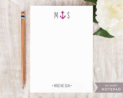 ANCHOR MONOGRAM NOTEPAD - Personalized Nautical Stationery/Stationary Note Pad