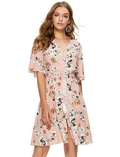 Escalier Women's Floral Button Up Dress V Neck Split Flowy Boho Summer Party Midi Dress Pink Floral Small