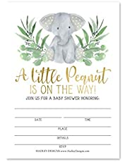 25 Elephant Greenery Baby Shower Invitations, Sprinkle Invite for Boy or Girl, Coed Safari Jungle Gender Neutral Reveal Theme, Little Peanut Fill or Write in Blank Printable Card, Party DIY Supplies