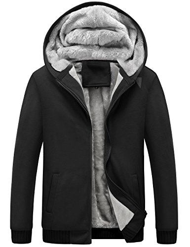 Yeokou Men's Winter Thicken Fleece Sherpa Lined Zipper Hoodie Sweatshirt Jacket (Large, Black) (Jacket Hoodie Sherpa)