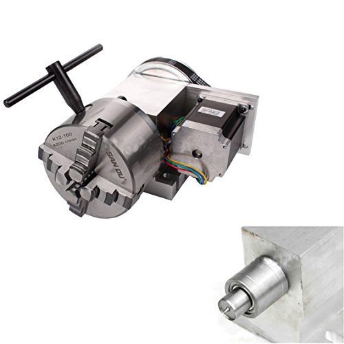 Cheap SUNWIN CNC Hollow Shaft 4th Axis Router Rotary A Axis Φ100mm 4Jaw Chuck+65MM Tailstock (Type B)
