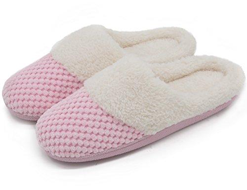 ultraideas-womens-soft-gridding-coral-velvet-short-plush-lining-slip-on-memory-foam-clog-indoor-slip
