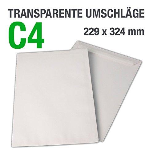 100 buste trasparenti, C4 = 324 x 229 mm, chiusura autoadesiva, 100 g/mq DerMegaDeal V4077C4H