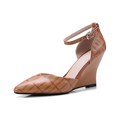 Taille Femme Vache La Plus Véritable Cuir Toe Haut Pointu Compensées Femmes 43 Escarpins Talon Brown Chaussures En 36 D'été Hoesczs XEwzqx5pp