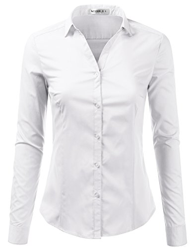 Doublju Womens Slim Fit Business Casual Long Sleeve Button Down Dress Shirt White Large