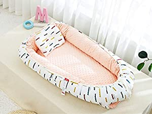 Baby Nest Newborn Baby Lounger Soft Breathable Cotton for Newborn & Babies Sleeping Pod Baby Bassinet for Bed/Style 4