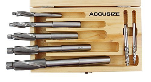 AccusizeTools - 7 Pcs/Set Premium Metric HSS Solid Capscrew Counterbore Set 3 Flute Straight Shank, 509S-007M by Accusize Industrial Tools