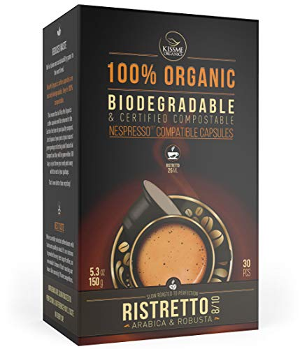 Nespresso Compatible Organic Coffee Capsules by Kiss Me Organics - Ristretto - 100% Biodegradable and Compostable Coffee Pods - Made from Slow Roasted Organic Coffee Beans - 30 capsules ()