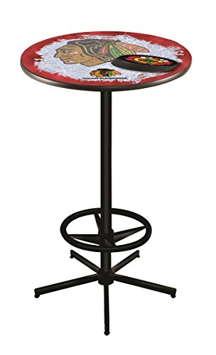 Holland Bar Stool Co. NHL Chicago Blackhawks Red Background Officially Licensed Pub Table, ()