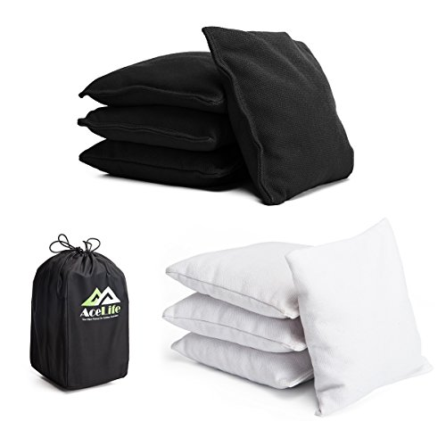 AceLife ACA Regulation Cornhole Bags Weather Resistant Bean Bag Toss (Set of 8) Plastic Pellets Black & (White Soft Snowboard Bag)