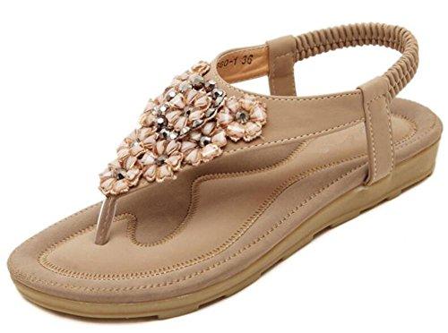 YEEY Ronda de las mujeres peep clip Toe cuentas sandalias elásticas sandalias de playa flip flops zapatos correas Khaki