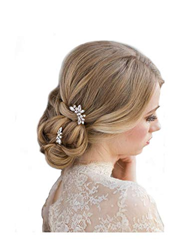 Unicra Wedding Bridal Rhinestone Hair Pins Decorative Bridal Hair Accessories for Brides and Bridesmaids Pack of 3 Silver