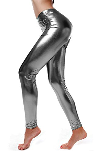 DIAMONDKIT Liquid Wet Look Shiny Metallic Stretch Leggings (S, Silver Gray)