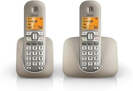 Philips XL390 DUO - Pack de 2 teléfonos fijos inalámbricos (pantalla de 1.9, capacidad para 100 entradas), plata [importado]: Amazon.es: Electrónica