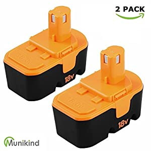 Munikind 2 Pack 2.0Ah Replace for Ryobi 18V Battery Nicd One Plus P100 P101 ABP1801 ABP1803 ABP1801 BPP1820 Cordless Tool Batteries