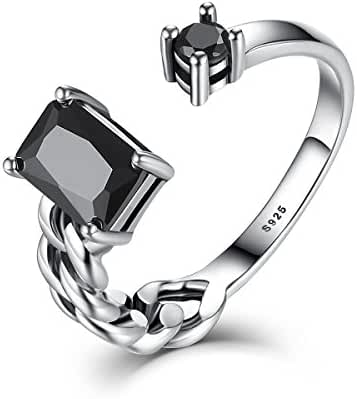 WOSTU Sterling Silver Emerald Cut Black Cubic Zirconia Open Rings for Women