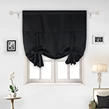 Deconovo Room Darkening Rod Pocket Adjustable Tie-up Thermal Insulated Blackout Curtain Panel For Small Window 46Wx63L Inch Black 1 Piece