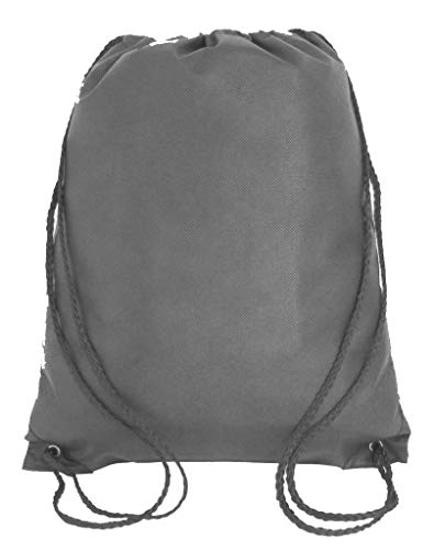 Promotional Non-Woven Drawstring Backpacks for Giveaway Favors or Daily Use (50, Gray)