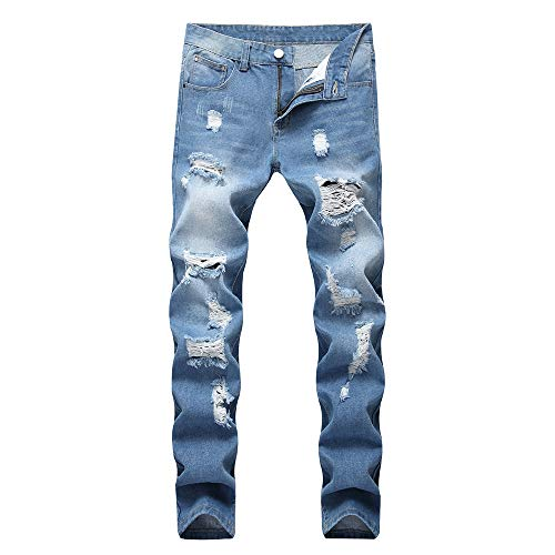 (ENIDMIL Men's Ripped Holes Jeans Comfort Skinny Distressed Destroyed Slim Fit Denim Pants Fashion Casual Stretch Biker Jeans(Light Blue,42))