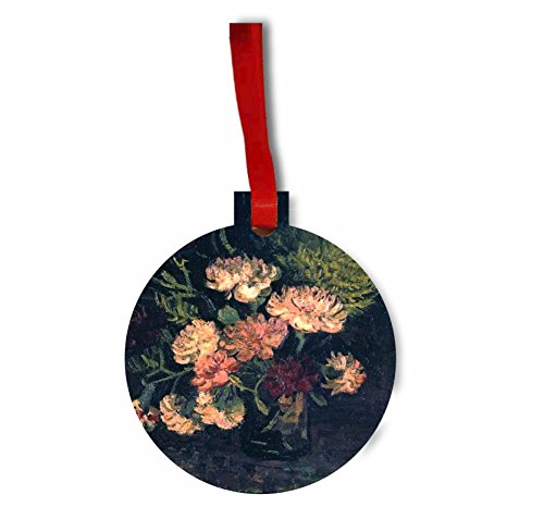Vincent Van Gogh's Vase with Carnations - Rosie Parker Inc. Flat Round-Shaped Hardboard Hanging Holiday Tree Ornament Made in the USA