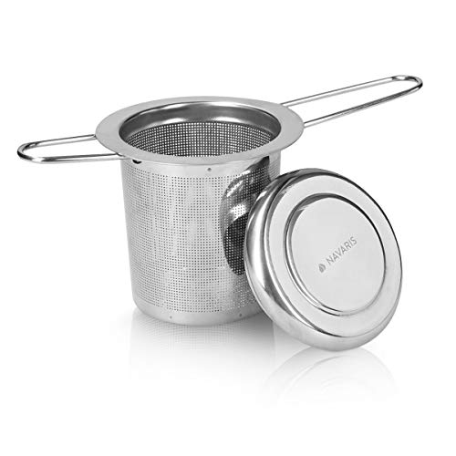 Navaris Stainless Steel Tea Infuser - Extendable Loose Leaf Tea Strainer with Drip Tray Lid - Folding Handles Tea Filter for Cups, Mugs and Teapots