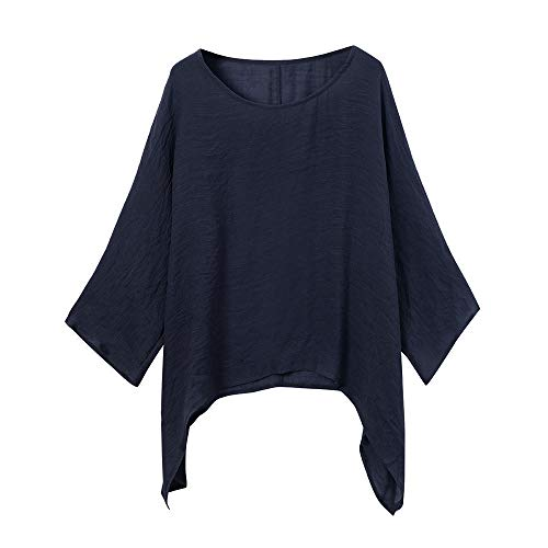 Misaky Women's Blouse Daily Casual Plus Size Loose Tops Cotton Linen Solid Color Shirt (Navy, X-Large)