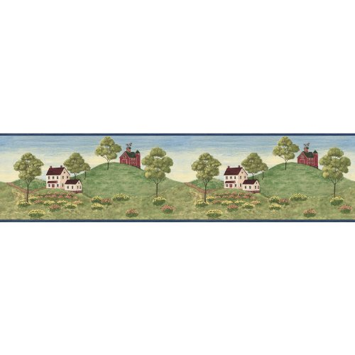 - Country Farmhouse and Barn Wallpaper Border - Blue Edge