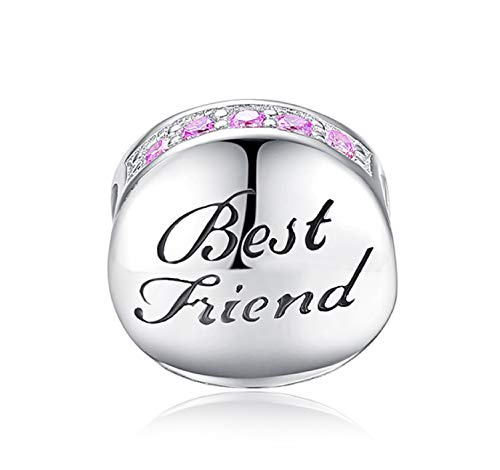 EVESCITY Many Styles Silver Pendents 925 Sterling Beads Fits Pandora, Similar Charm Bracelets & Necklaces (Half Infinity Best Friend Ball Bestie)