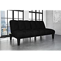 Hamilton Estate Premium Sofa Futon Sleeper Comfortable Plush Upholstery, Rich Black