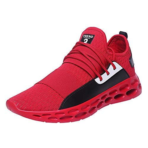 NUWFOR Casual Men's for Adult Tennis Shoes Lightweight Breathable Lace-up Sneakers(Red,7.5 M US Length:9.5-9.7