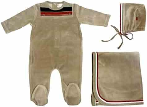 8d5dead2d0 Cream Bebe Newborn Baby Take Me Home Set Footie Blanket Hat 3pc Unisex  Christening Gift