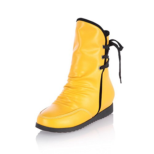 Toe Round Solid Yellow Bandage 5 Kitten and AmoonyFashion PU B Closed US M with Womens Heels Platform Boots F4wxqcHSt